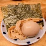中華そばムタヒロ - 令和3年2月 5ポイント特典 3品盛り 味玉、のり、メンマ