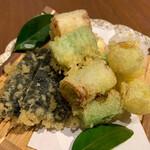 和食居酒屋 旬門 - ネギの天ぷらが甘くて美味しい!海苔天もついている