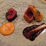 146712405 - 鹿肉のミラノ風カツレツ、鹿肉のたたき、辛子酢味噌と新筍添え、柚子胡椒のソース