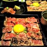 神戸牛焼肉 八坐和 - ステーキ重 赤身と極上赤身