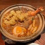 玉丁本店 - 味噌煮込みうどん(海老天入り)