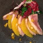 DINING 六区 - 前菜 フランス産鴨むね肉とオレンジのサラダ