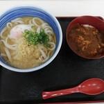 白河そば - 料理写真:ひもかわうどん&小カレー