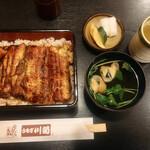 うなぎ川菊 - うな重(菊)2,700円 漬物、お吸物(肝なし)