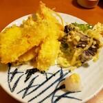 千成 - 「松」定食の天ぷら