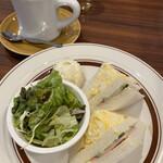 ブラウン珈琲 - 料理写真:ハムたまサンドモーニングとアメリカンコーヒー