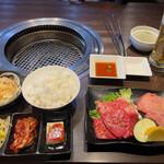 焼肉三松 - 特上定食と生ビール