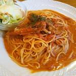 146885707 - 渡り蟹のトマトクリームソース・スパゲッティ(大盛り) 1,100円