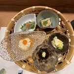 sushimatsumoto - 胡麻豆腐の揚げ出汁、シラウオ、湯葉、もずく酢、芽キャベツの白和え