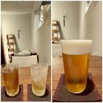 日本料理若林 - 右:マスターズドリーム  左写真の右:萬歳楽加賀梅酒ソーダ割(紅映梅べにさしうめを使用した梅酒、濃密な梅の香りが特徴で甘さすっきりタイプ)  左写真の左:冷たい烏龍茶