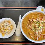 中国飯店真味 - 坦々刀削麺+半チャーハンセット