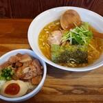 八雲  - 塩ラーメン+チャーシューご飯2021.03.02