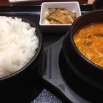 スンドゥブ&石焼ビビンバ Red Pit - 豚スンドゥブ 明太子トッピング 2辛 ごはん大盛