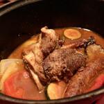 ビストロ ミツ - ●仔羊脛肉煮込みと仔羊ソーセージ クスクス添え様(2200円)