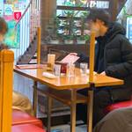 Kyoueidou - 【2021年02月】お仲間同士のテーブル席は、仕切板の下が少し広めに空いてて、やり取りもできます。