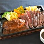 グリルレストラン モカ - 料理写真:ハンバーグ&アンガス牛ミスジステーキ