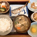 定食 美松 - 料理写真:かき汁定食 + 生卵