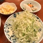 Tonkatsukawa - キャベツ、タルタル、お新香