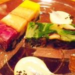 六雁 - 煮こごり 蟹と菊菜  占地 ほうれん草 野菜おひたし