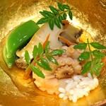 杦 - 先付け  アワビ、飯蛸とイイ、バチコ、スナップエンドウ