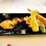 147177766 - 鮭の味噌柚庵焼きと海老の東寺揚げ、季節の野菜の天ぷら