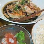 14719013 - ランチセット 鮭と豆腐のハンバーグきのこソース