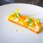 147223646 - ・柑橘とそら豆のチーズケーキ                       でこぽん、ハッサク、甘夏ゼリー                       ベルガモットの香り