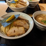 つけめん 蕾 - 特製濃厚煮干つけ麺  (大盛) × 2  奥はツレのオーダー (同じものです。)