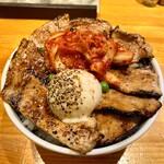 十勝亭 - ロース&バラ豚丼(大)・温泉たまご・キムチ