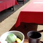 岡山後楽園 福田茶屋 - 抹茶の味がしっかりしていて美味しい