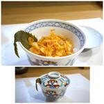 147288798 - ◆桜海老の飯蒸し・・桜海老は素揚げにし、蒸した餅米と共に頂くのですが、、 餅米の甘味と桜海老の香ばしさが口の中でいいハーモニーを。