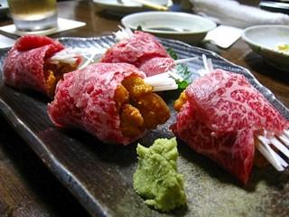 ふく田 - 牛肉ウニ巻き