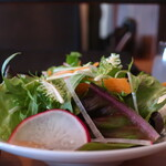 147334281 - レタスミックス、水菜、赤大根、人参のサラダ