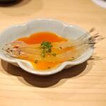 鮨 利﨑 - 宍道湖の白魚 黄身醤油と共に