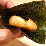 鮨 利﨑 - 帆立の磯辺巻き 有明海苔で