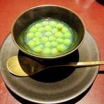 147340016 - *桑名 大和はまぐりと豊川のスナップえんどう豆のスープ 豆の甘味と炭火焼きされたはまぐりの香ばしさがほんわりとスープに溶け込み  冷えた身体にしみて癒されます