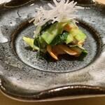 147363714 - 赤貝の鉄砲和え(酢味噌) 鳴門若芽 針独活(うど)