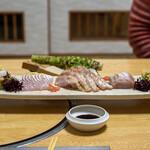 味暦あんべ - 2021.2 刺し盛り(赤バイ貝、赤ガレイ、ノドグロ、ハタハタ、白バイ貝)
