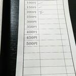 147405777 - 席に着いてから店員さんがお皿を確認して伝票に記入