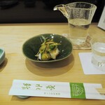 菊水鮓 - 蛸のサラダ仕立て & 冷酒(明石鯛 特別純米)