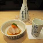 菊水鮓 - アイナメ & 燗酒(黒松白鷹)