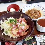 すき家 - NY ポーク丼 オニオンスープ&おんたまセットと、牛皿並盛