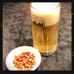 香港厨房 - お酒セットの生ビール&お通し