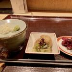 古今 - 小鉢は、葉ごぼうと新じゃがの煮物、葉ごぼうは余り聞き慣れない野菜ですが、関西では良く食べる食材のようです。