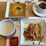 XIANG - 中華粥、鰹のフライ油淋ソース、蟹玉の上海蟹の卵入りあんかけ
