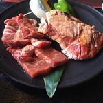 焼肉ホルモン 王道 - 王道ランチ 上ロース 上カルビ 上ハラミ 王道ステーキの4種