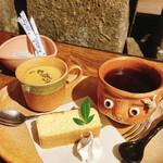 147557657 - ほうじ茶プリン付きケーキセット(山田牧場さんのぜいたくチーズケーキ)