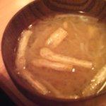 しうまい家 松富 - サービスでといただいたお味噌汁 大根・揚げ・豆腐