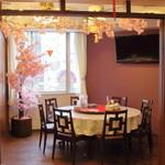 台湾菜館 弘城 - 期間限定で桜の飾り付けをしています。