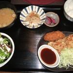 炭旬 - 合盛り定食(唐揚げ&クリームコロッケ)